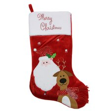 Embroidered Velveteen Merry Christmas Santa Claus and Reindeer Stocking