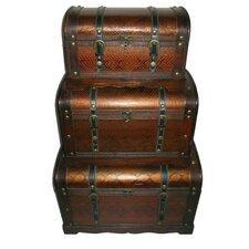 3 Piece Decorative Wood and Faux Snakeskin Storage Box Set