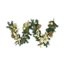 Pre-Decorated Gold Poinsettia, Pine Cone and Pear Artificial Christmas Garland