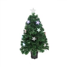 4' Color Changing Fiber Optic Christmas Tree with LED Light Stars