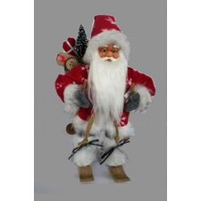 Alpine Chic Snowflake Skiing Santa with Gift Bag Decorative Christmas Figure