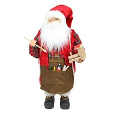 Animated Santa Claus Painting a Toy Train Christmas Decoration