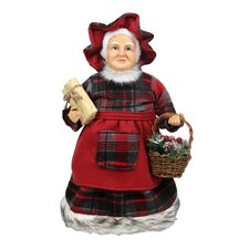 Country Rustic Mrs. Claus Checkered Dress Holding a Basket and Gift Christmas Figure
