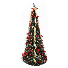 7.5' Decorated Red and Gold Artificial Christmas Tree with Clear Light