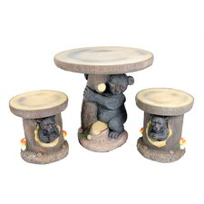 3 Piece Bear Hugging Tree Table and Chair Novelty Garden Patio Furniture Set