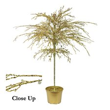 3.8' Gold Crystallized Glitter Potted Holiday Tree with Mirrors and Beads