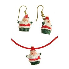 Jolly Santa Claus Christmas Necklace and Earring