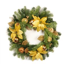 Pre Decorated Poinsettia Apple and Berry Unlit Artificial Christmas Wreath