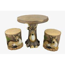 3 Piece Deer and Fawn in Tree Table and Chair Novelty Garden Patio Furniture Set