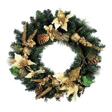 Pre Decorated Poinsettia and Pine Cone Unlit Artificial Christmas Wreath