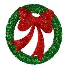 Lighted Wreath with Bow Sisal Christmas Decoration