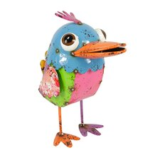 Colorful Speckled Metal Wide-Eye Baby Bird Figure with Mohwak