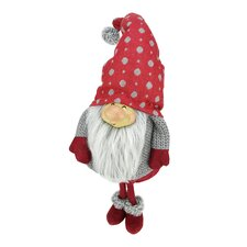 """Smiling """"Reuben"""" with Polka Dotted Hat Standing Santa Gnome Table Top Christmas Figure"""