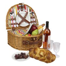 2 Person Hand Woven Honey Willow Insulated Picnic Basket