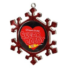 Snowflake Sugar Daddy Candy Logo Christmas Ornament with European Crystal