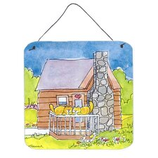 Cat Love At the Log Cabin Aluminum Hanging Painting Print Plaque