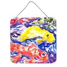 Fish Koi in the Pond Aluminum Hanging Painting Print Plaque
