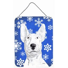 Bull Terrier Blue Snowflake Winter Aluminum Hanging Painting Print Plaque