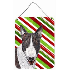 Bull Terrier Candy Cane Christmas Aluminum Hanging Painting Print Plaque