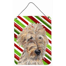 Goldendoodle Candy Cane Christmas Aluminum Hanging Painting Print Plaque