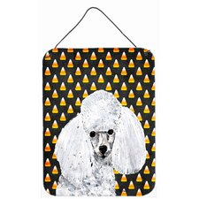 White Toy Poodle Candy Corn Halloween Hanging Painting Print Plaque