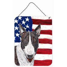 Bull Terrier USA American Flag Aluminum Hanging Painting Print Plaque