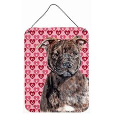 Staffordshire Bull Terrier Staffie Hearts and Love Hanging Painting Print Plaque