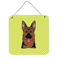 Checkerboard Lime Green German Shepeherd Hanging Checkerboard Lime Green German Shepherd Hanging Graphic Art Plaque