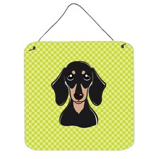 Checkerboard Lime Green Smooth Black and Tan Dachshund Hanging Painting Print Plaque