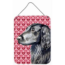 Flat Coated Retriever Hearts Love Valentine'S Day Hanging Painting Print Plaque
