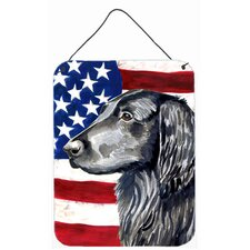 Usa American Flag with Flat Coated Retriever Hanging Painting Print Plaque