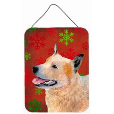 Australian Cattle Dog Red Snowflakes Christmas Hanging Painting Print Plaque