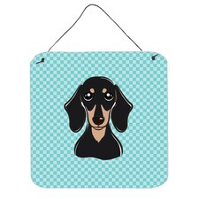 Checkerboard Blue Smooth Black and Tan Dachshund Hanging Graphic Art Plaque