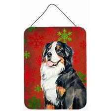 Bernese Mountain Dog Red Snowflakes Christmas Hanging Painting Print Plaque