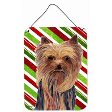 Yorkie Candy Cane Holiday Christmas Aluminum Hanging Painting Print Plaque