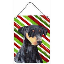 Doberman Candy Cane Holiday Christmas Aluminum Hanging Painting Print Plaque