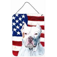 USA American Flag with Pit Bull Aluminum Hanging Painting Print Plaque