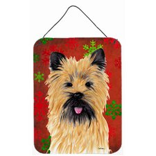 Cairn Terrier Red Snowflakes Holiday Christmas Metal Aluminum Door Hanging Painting Print Plaque