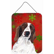 Welsh Springer Spaniel Red Snowflakes Christmas Metal Wall Door Hanging Painting Print Plaque