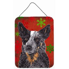 Australian Cattle Dog Red Snowflakes Christmas Metal Wall Door Hanging Painting Print Plaque