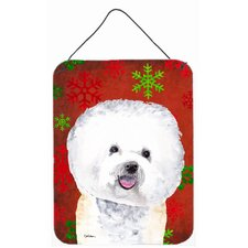 Bichon Frise Red Snowflakes Holiday Christmas Metal Hanging Painting Print Plaque