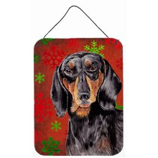 Dachshund Red Snowflakes Holiday Christmas Metal Hanging Painting Print Plaque
