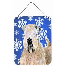 Wheaten Terrier Soft Coated Snowflakes Holiday Hanging Painting Print Plaque