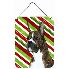 Boxer Candy Cane Holiday Christmas Aluminum Hanging Painting Print Plaque
