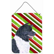 Akita Candy Cane Holiday Christmas Aluminum Hanging Painting Print Plaque