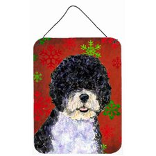 Portuguese Water Dog Red Snowflakes Holiday Christmas Wall Door Hanging Painting Print Plaque