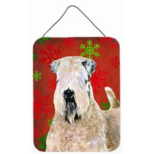 Wheaten Terrier Soft Coated Snowflakes Christmas Hanging Painting Print Plaque
