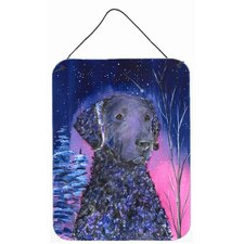 Starry Night Curly Coated Retriever Aluminum Hanging Painting Print Plaque