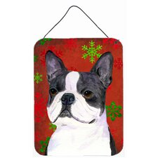Boston Terrier Red Snowflakes Holiday Christmas Hanging Painting Print Plaque