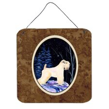Starry Night Wheaten Terrier Soft Coated Hanging Painting Print Plaque